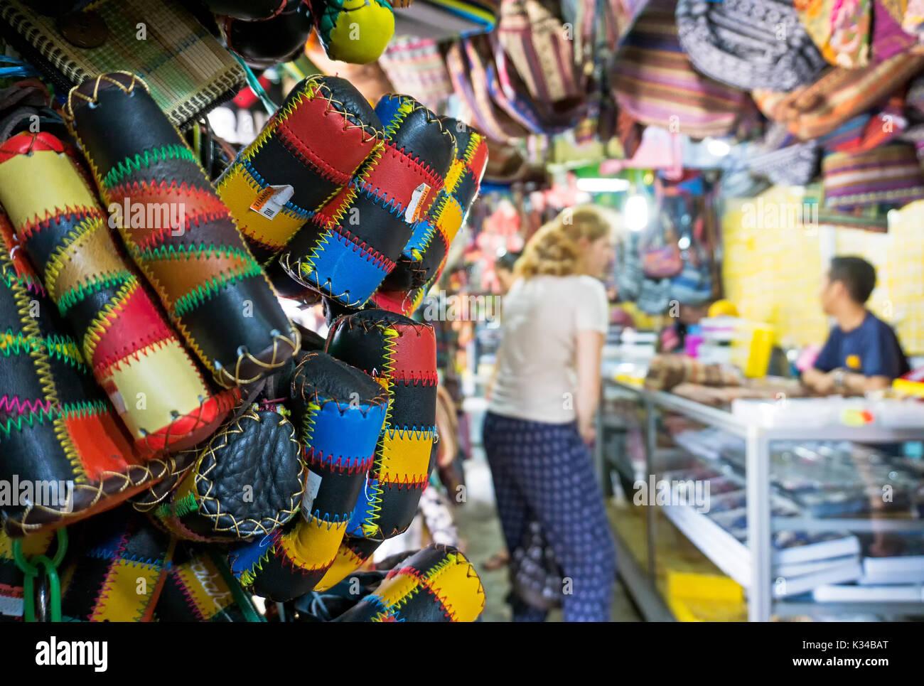 Souvenir display in Filipino souvenir market in Sabah Borneo, Kota Kinabalu, Malaysia. - Stock Image
