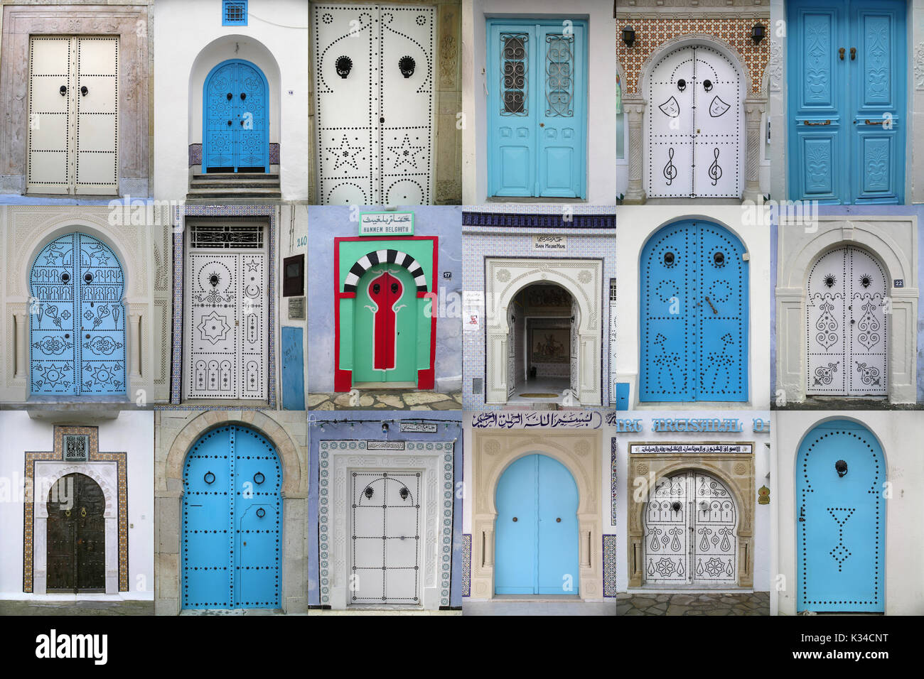 Horizontal collage of doors in Tunesia - Stock Image