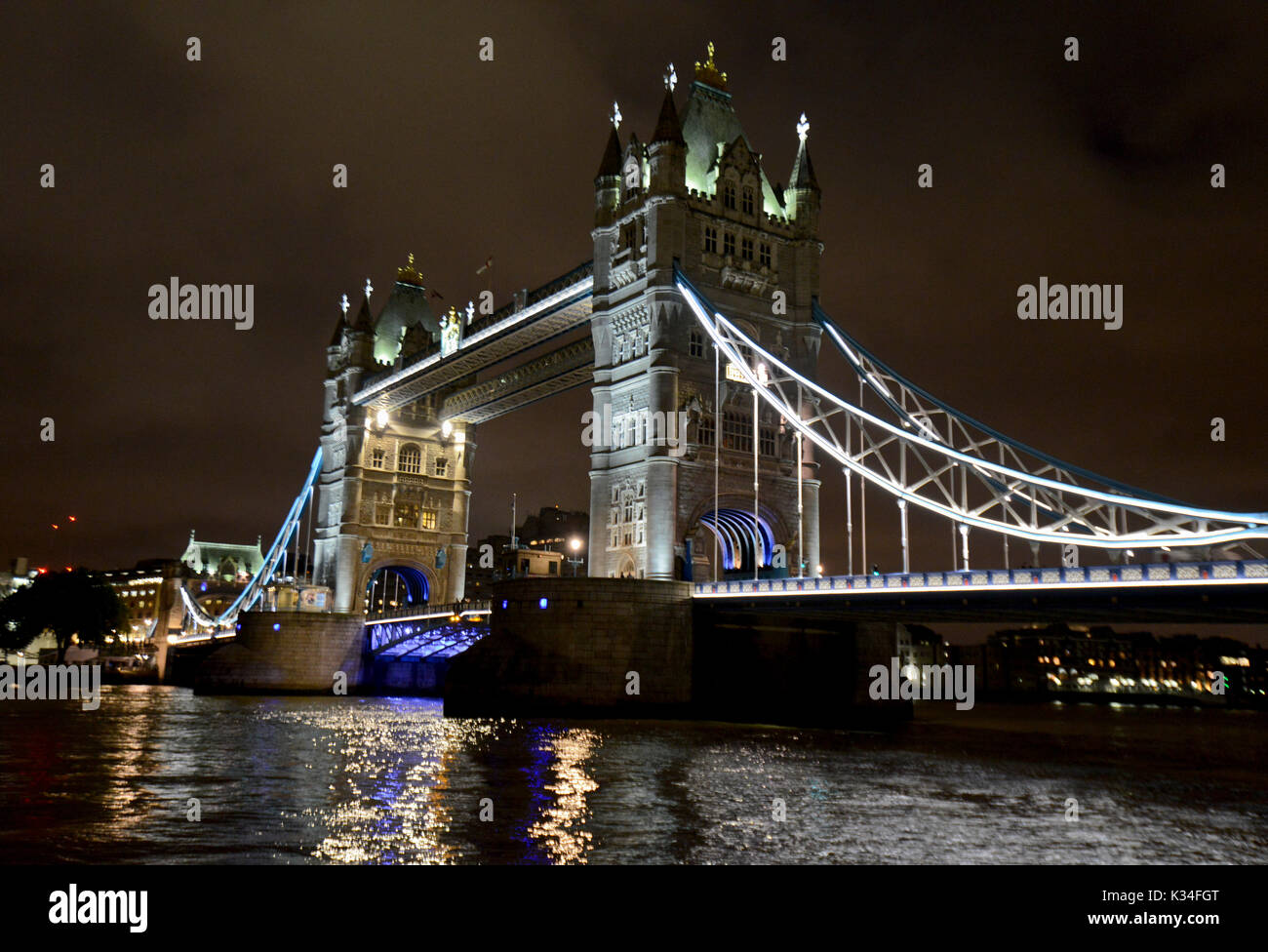 Tower Bridge by night, London - Stock Image