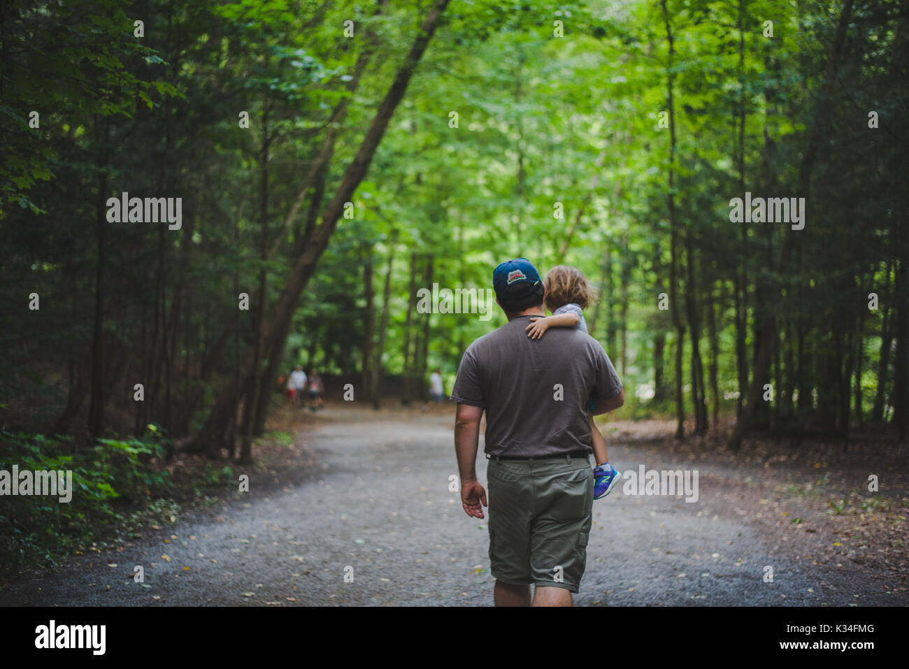 A father carries his daughter along a tree covered trail. - Stock Image