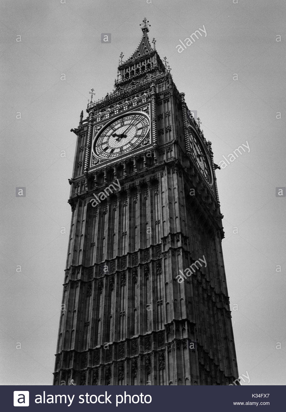 Low Angle View of Big Ben, House of Parliament, London, England, UK - Stock Image