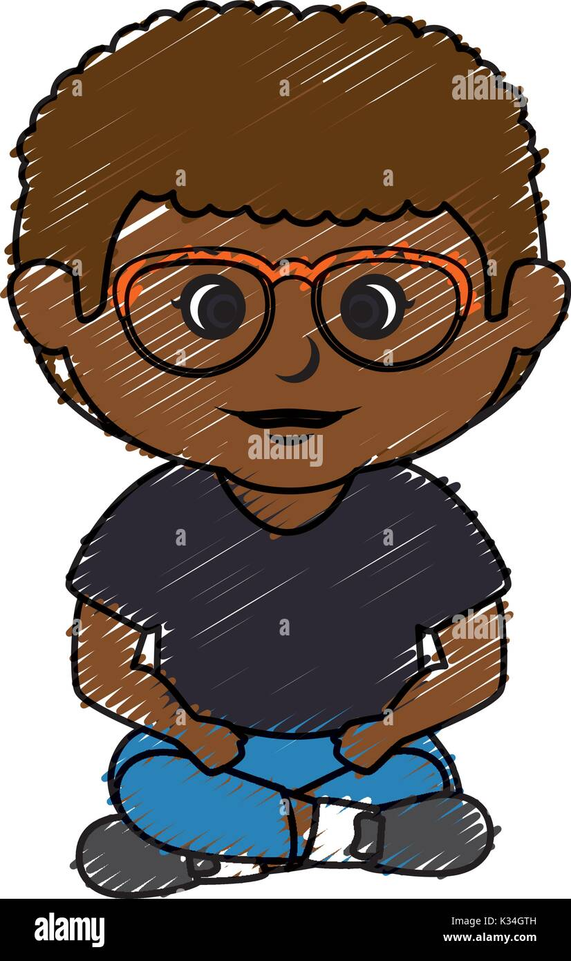 Black Little Boy With Glasses Character Vector Illustration Design