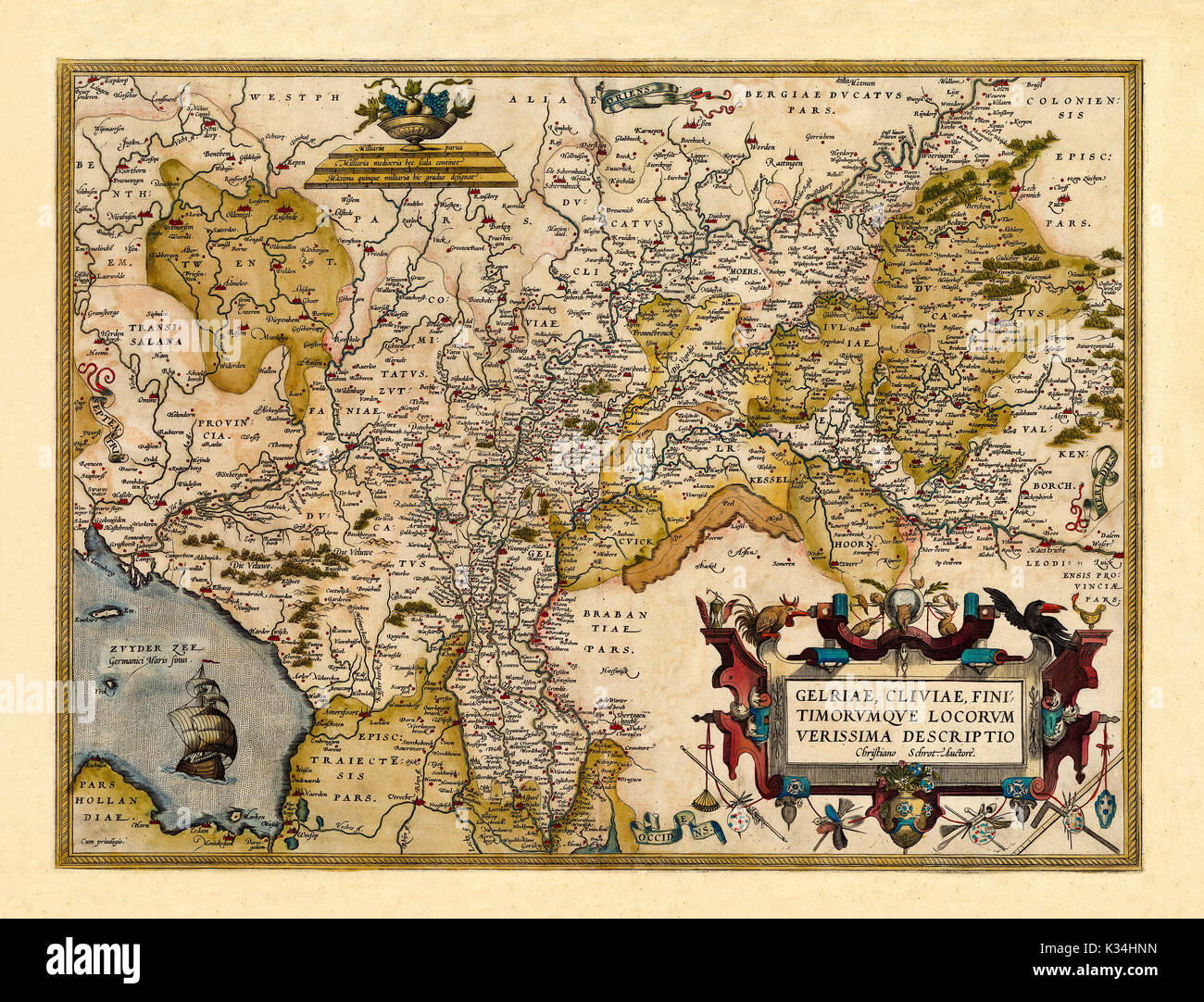 old map of germany and netherlands excellent state of preservation realized in ancient style