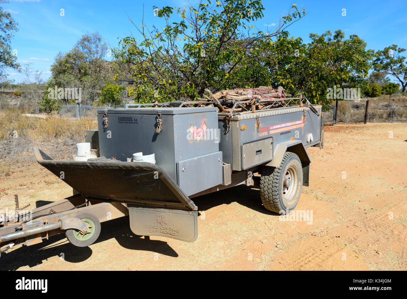 Off-road Kimberley Kampers camper trailer, known as KK, Far North Queensland, FNQ, QLD, Australia - Stock Image