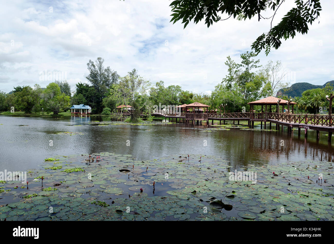 Taman Rekreasi Tasik Melati, Perlis, Malaysia - Tasik Melati is a wetland  famous for its lakes and its recreational facilities - Stock Image
