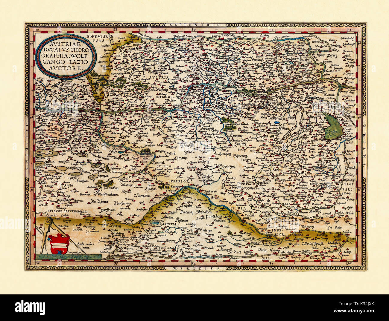 Old map of Austria. Excellent state of preservation realized in ancient style. All the graphic composition is inside a frame. By Ortelius, Theatrum Orbis Terrarum, Antwerp, 1570 - Stock Image