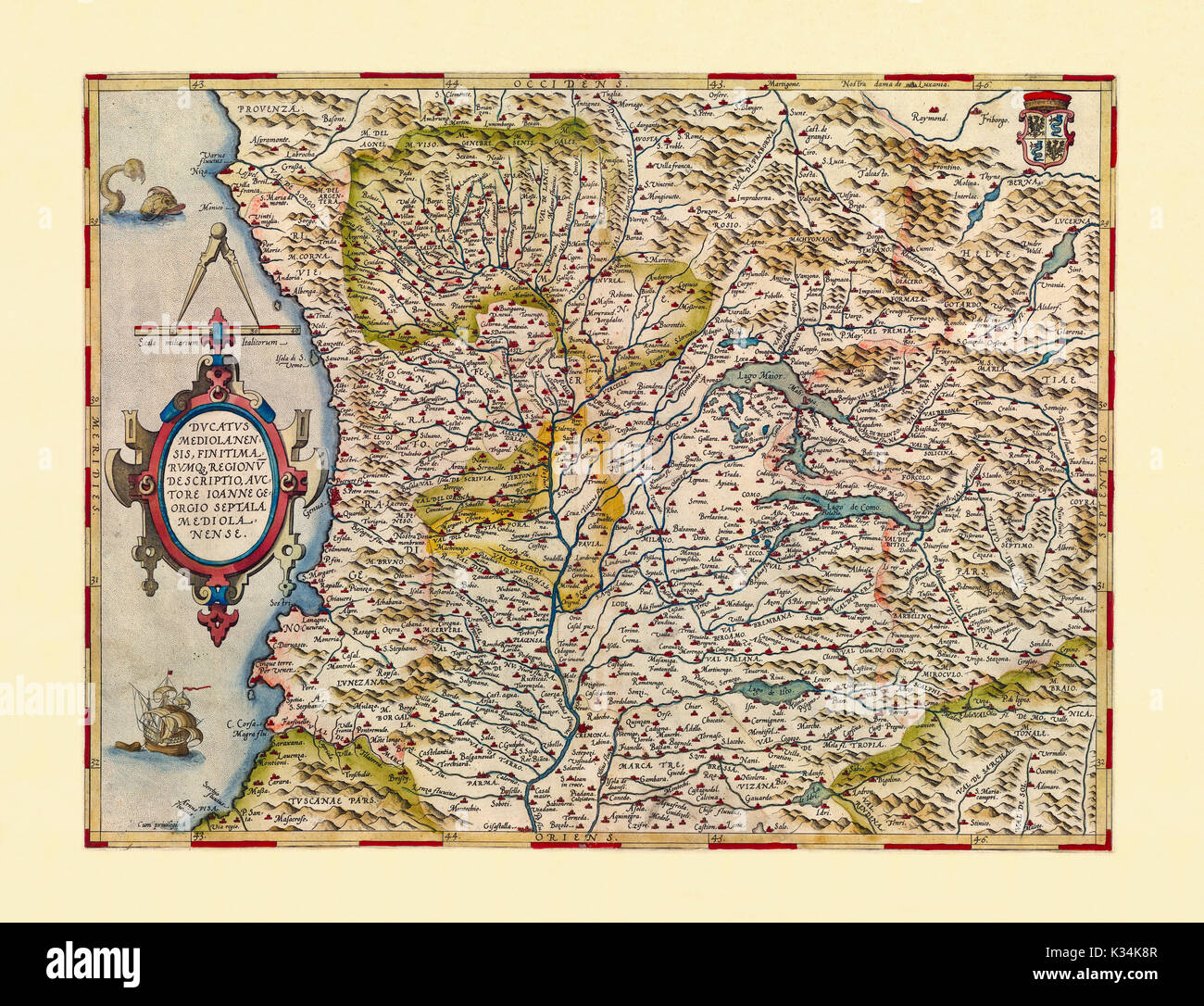 Old Detailed Map Of Lombardy Italy Excellent State Of Preservation