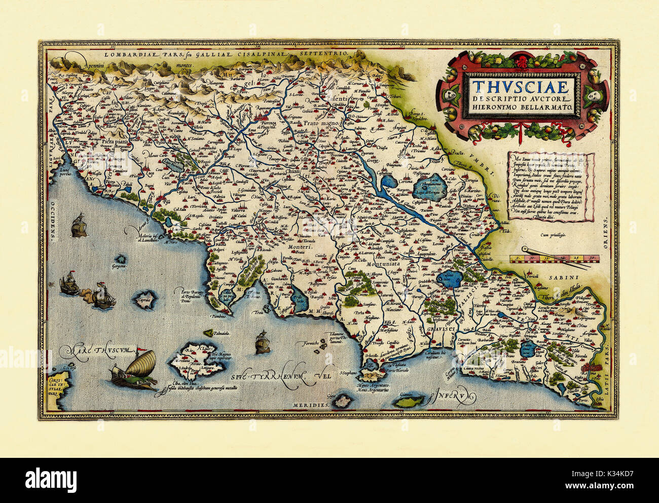 Detailed Map Of Tuscany Italy.Old Detailed Map Of Tuscany Region Italy Excellent State Of Stock