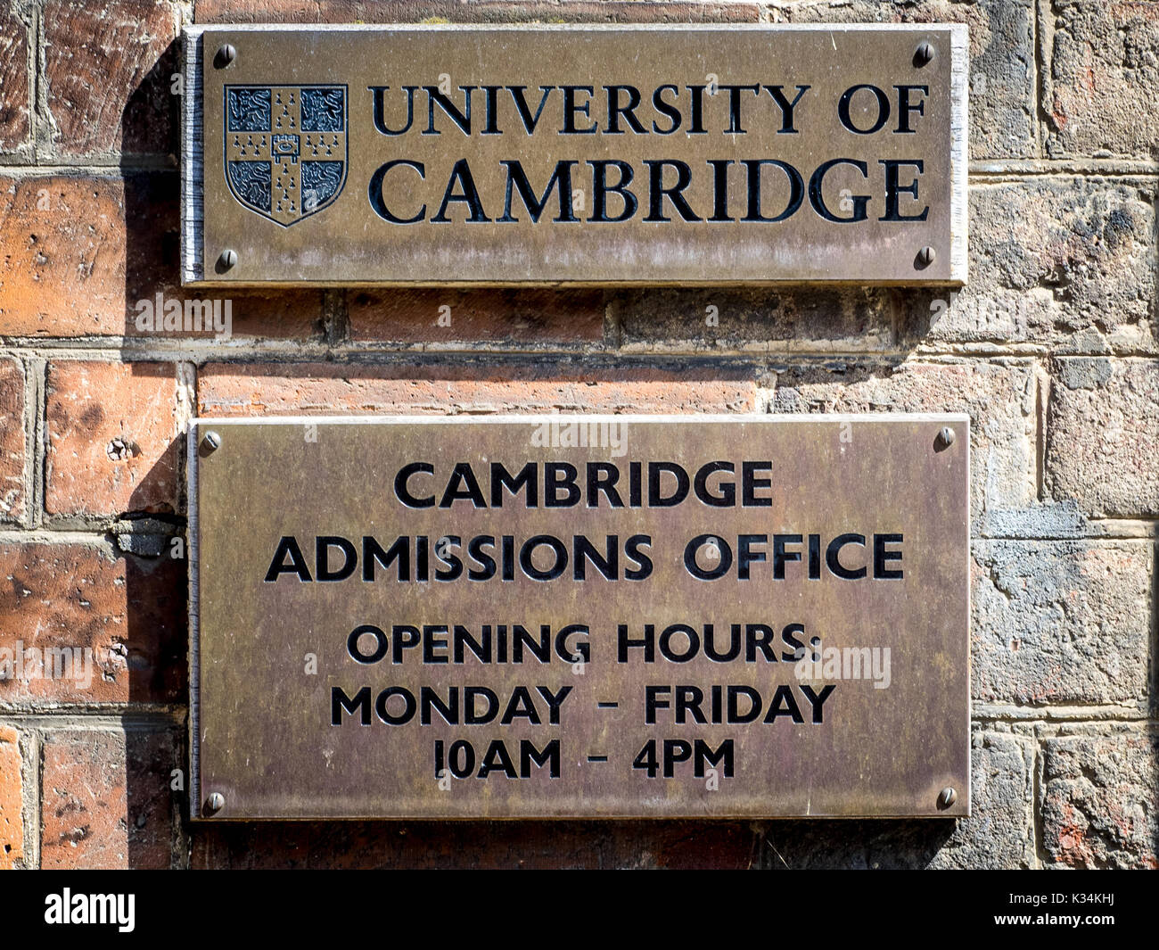 Cambridge University Admissions Office - signs outside the Cambridge University admissions office - Stock Image