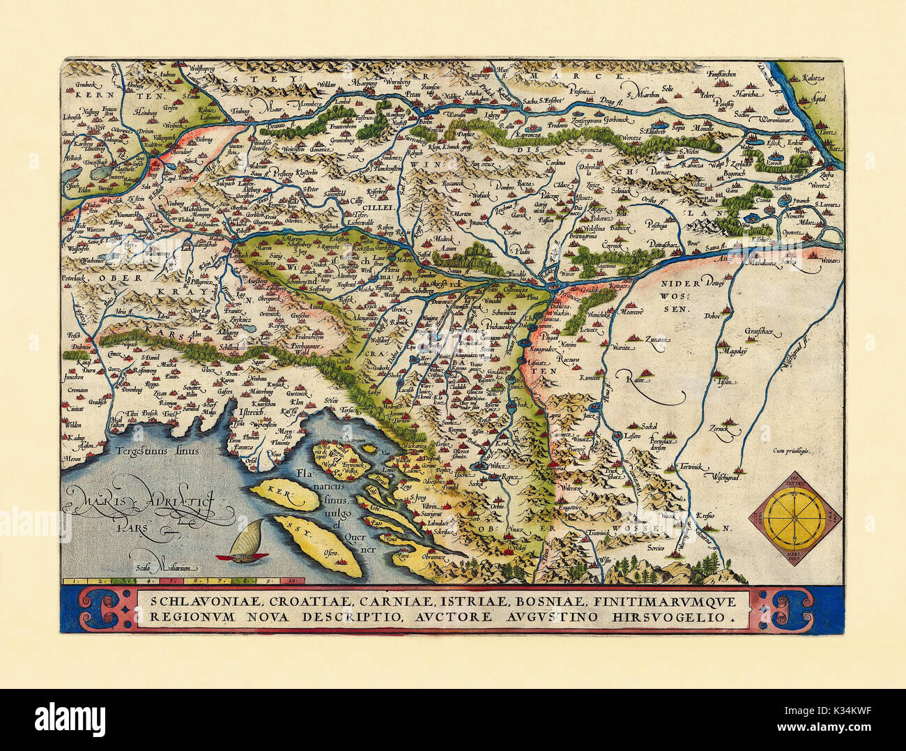 Old map of Slovenia. Excellent state of preservation realized in ancient style. All the graphic composition is inside a frame. By Ortelius, Theatrum Orbis Terrarum, Antwerp, 1570 - Stock Image