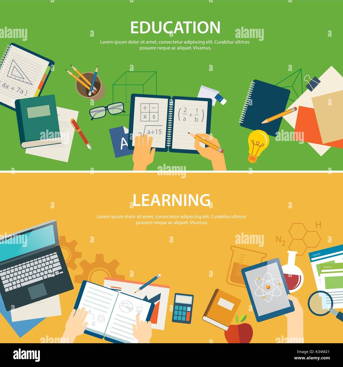 Education And Learning Banner Flat Design Template Stock Vector Image Art Alamy