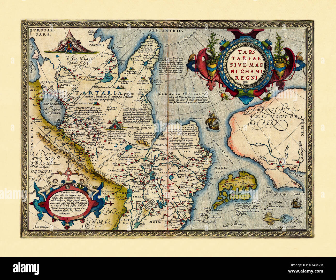 Old map of Easter Russia. Excellent state of preservation realized in ancient style. All the graphic composition is inside a frame. By Ortelius, Theatrum Orbis Terrarum, Antwerp, 1570 - Stock Image