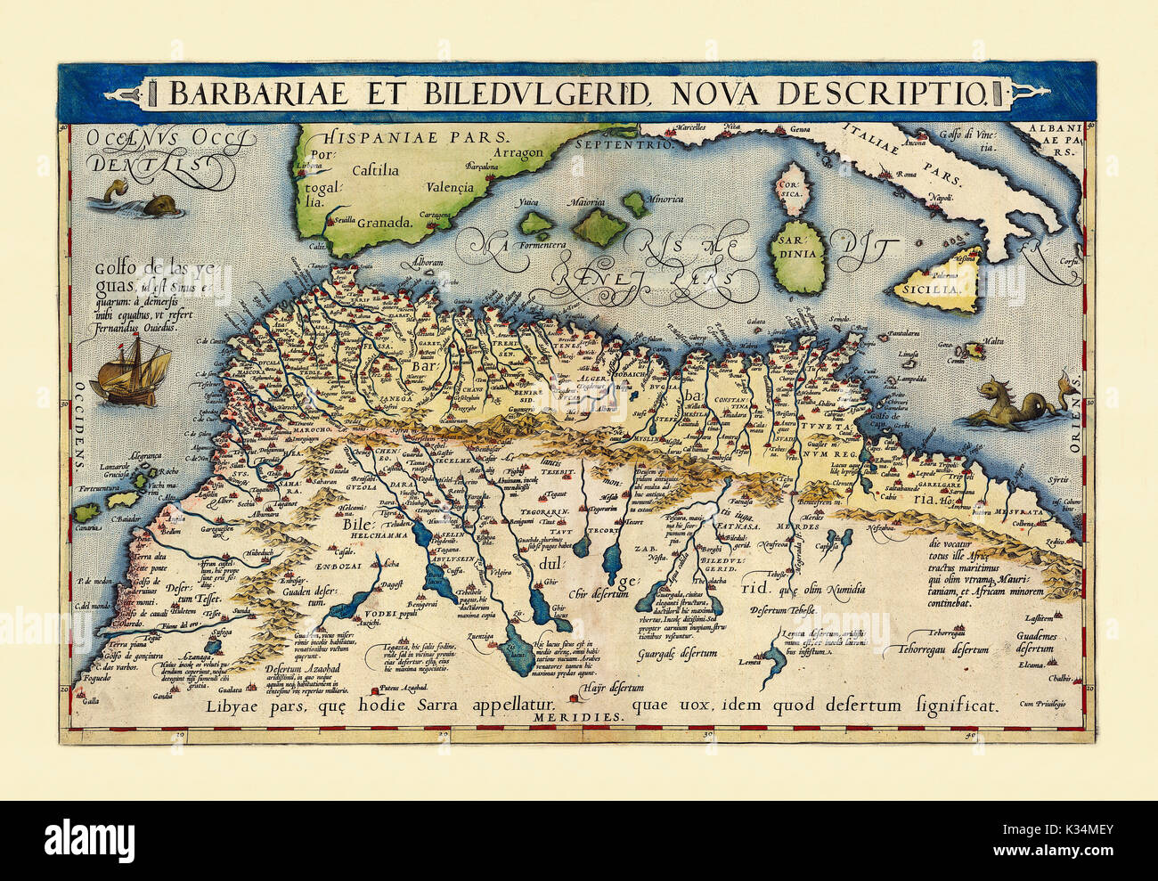Old map of North Africa. Excellent state of preservation realized