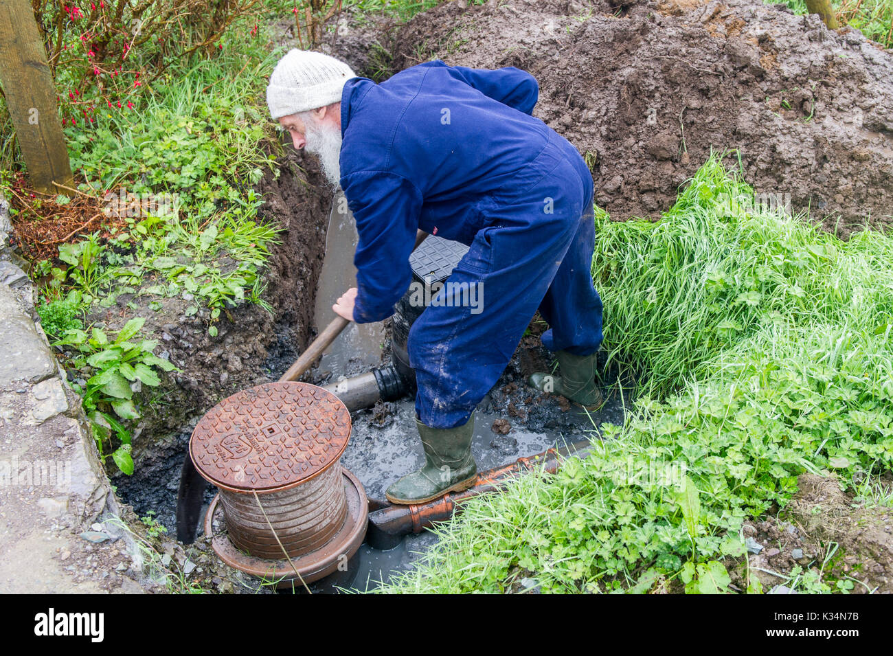 Plumber digs a hole to repair blocked drains. - Stock Image