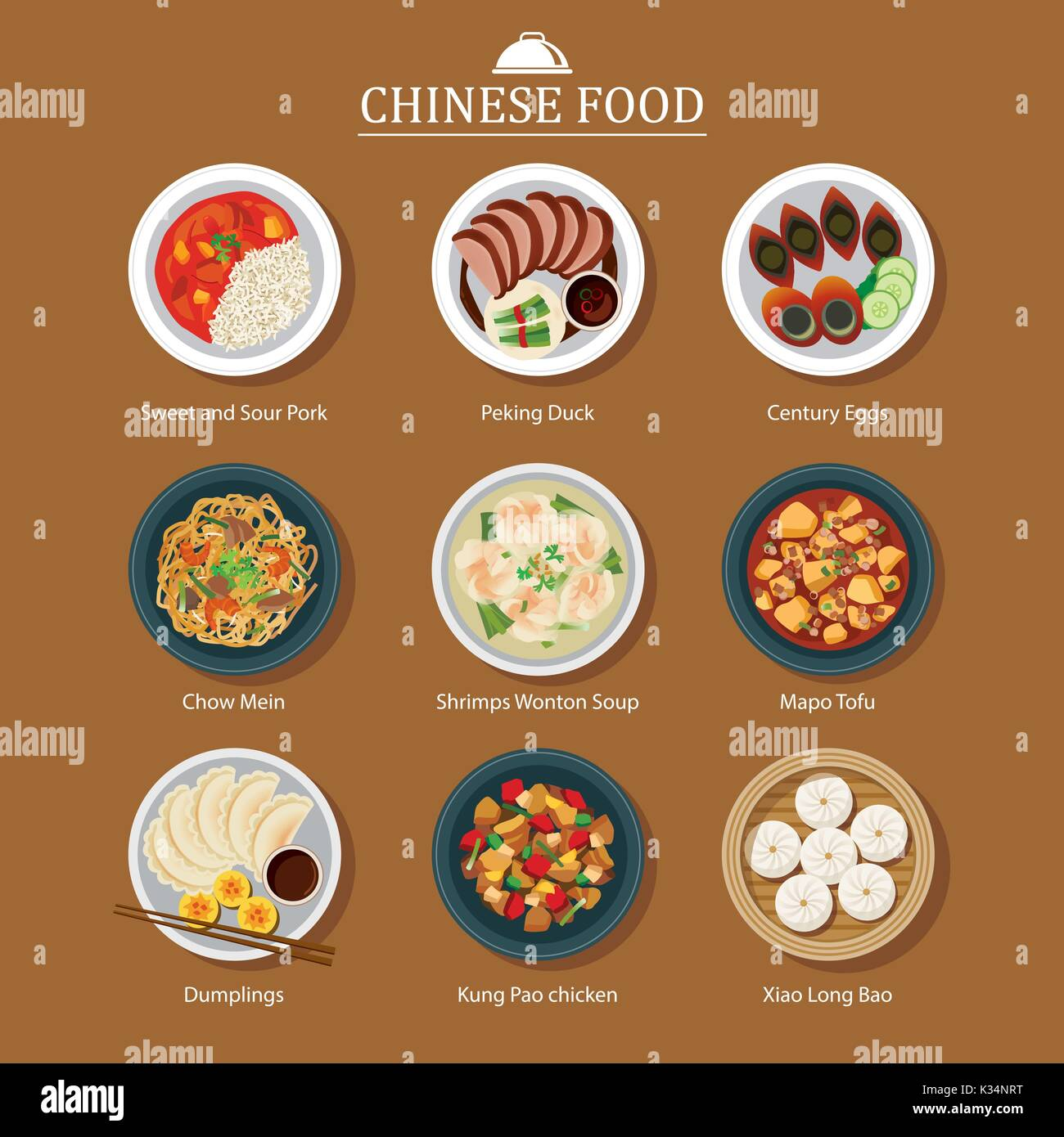 set of chinese food - Stock Vector
