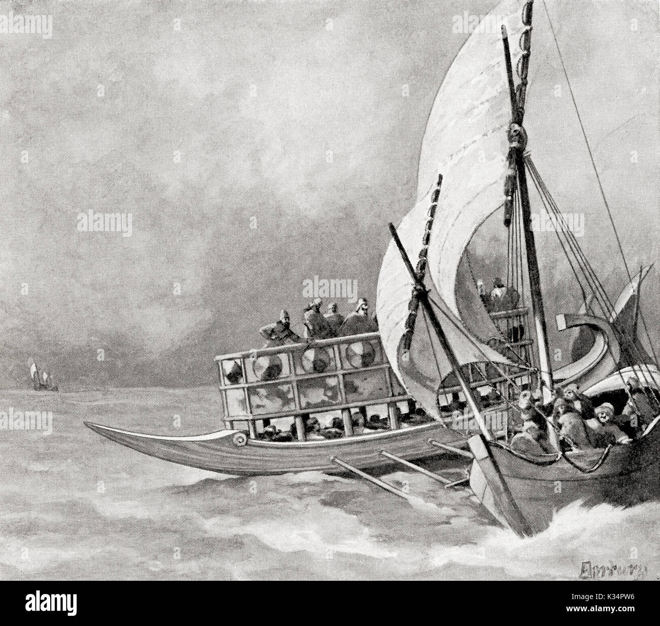 The capture, by Assyrians, of an Ionian pirate ship, 8th century BC.  From Hutchinson's History of the Nations, published 1915. - Stock Image