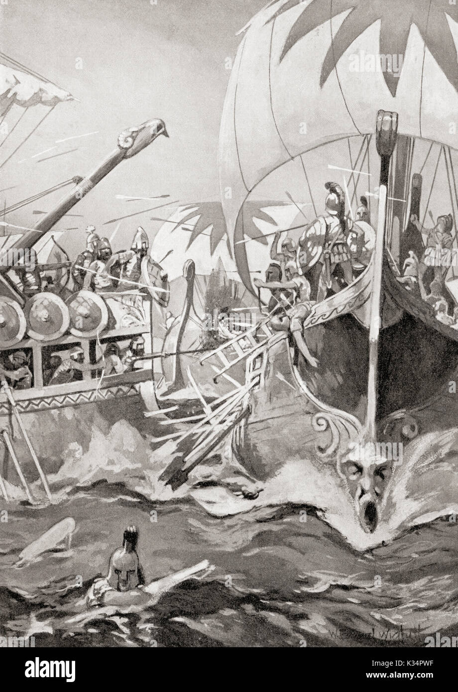 The defeat of an Ionian fleet by the ships of the Assyrian king Sennacherib, 696 BC.    From Hutchinson's History of the Nations, published 1915. - Stock Image