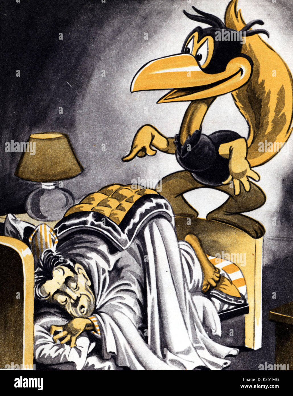 THE ARTIST'S NIGHTMARE   DAVID HANDS, producer of the Animaland series having a nightmare about CORNY CROW - Stock Image