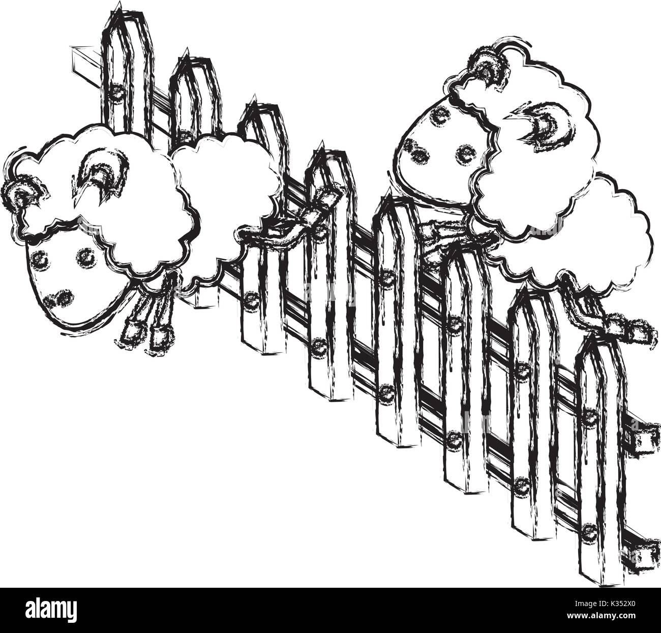 sheep animal couple jumping a wooden fence blurred silhouette on white background - Stock Image