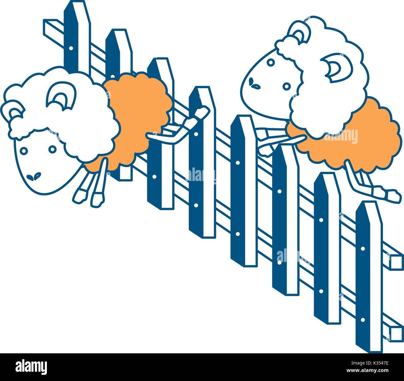 sheep animal couple jumping a wooden fence color section silhouette on white background - Stock Vector