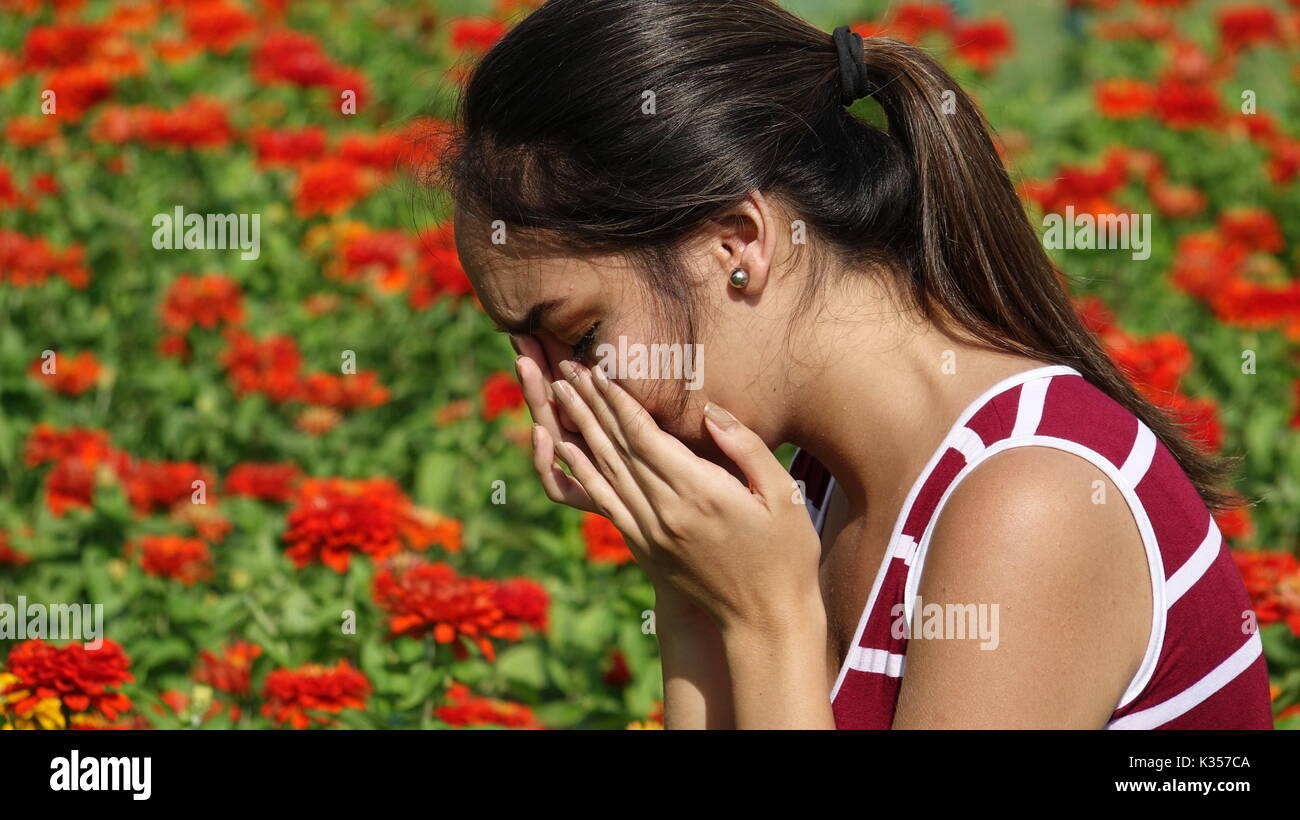 Tearful Young Person - Stock Image