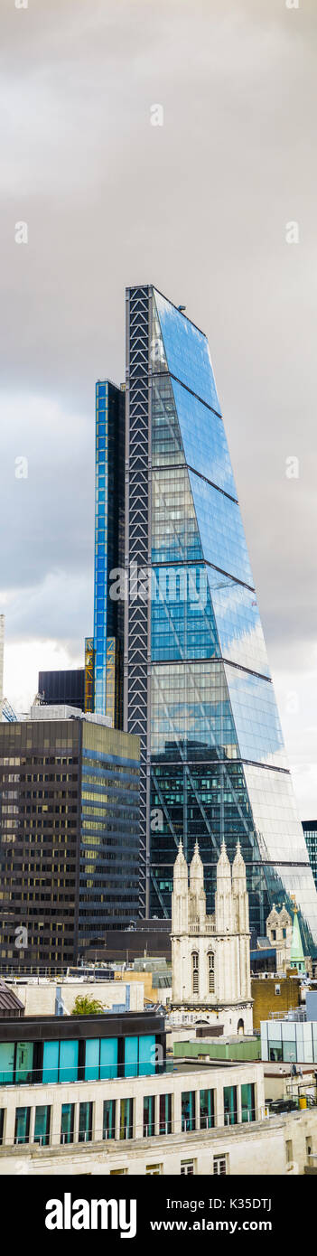 Cheesegrater, 122 Leadenhall Street, and church of St Andrew Undershaft, new property contrasting with old in the City of London financial district EC3 - Stock Image