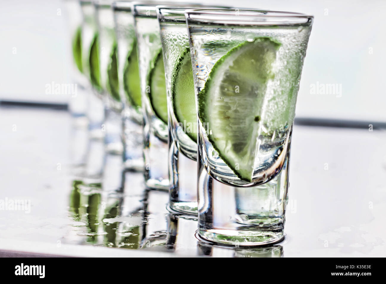 Cocktail. Vodka, gin tequila with lime - Stock Image