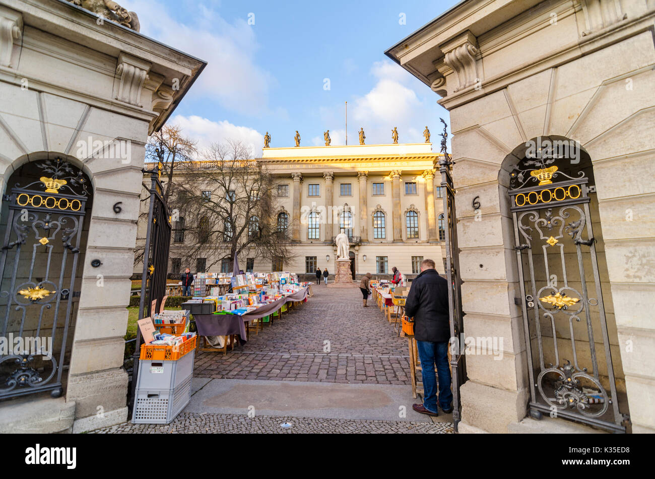 Book market outside Humboldt-Universität Humboldt University, Unter den Linden, Berlin, Germany - Stock Image