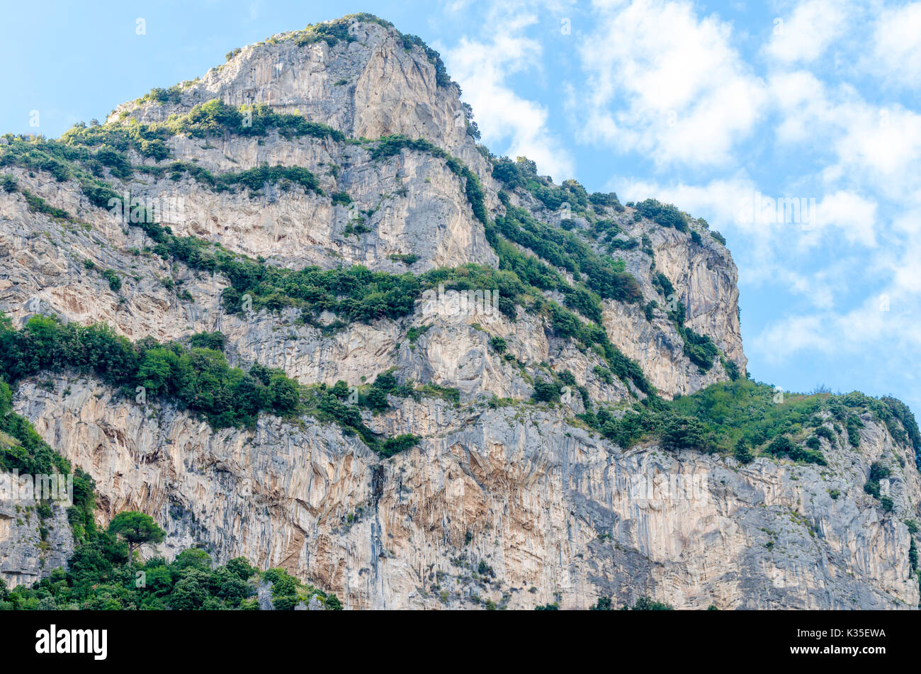 steep hill and cliffs above Positano town on the Amalfi Coast, Italy Stock Photo