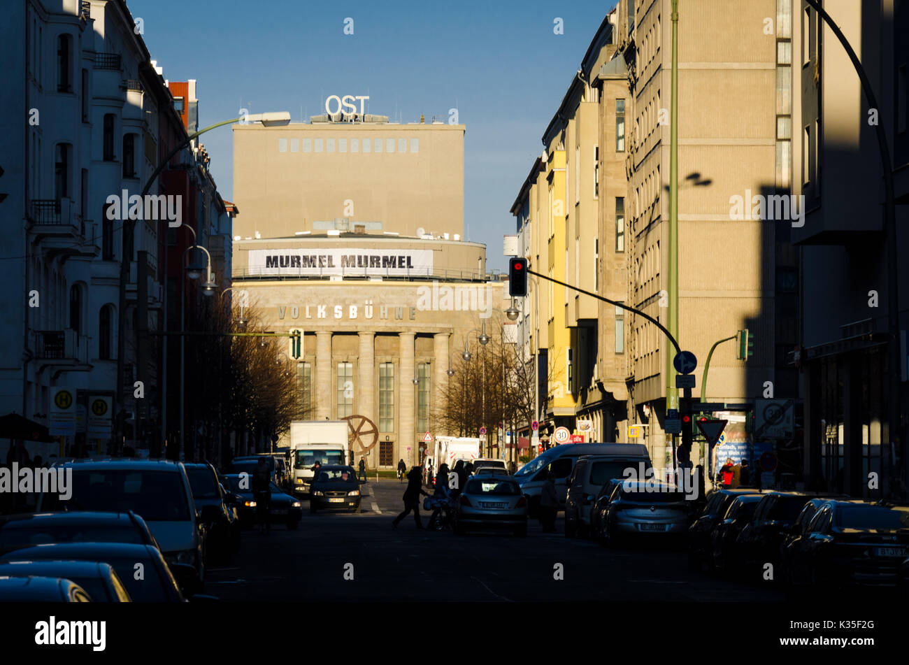 View of Volksbühne down Rosa-Luxemburg-Straße, Berlin, Germany - Stock Image