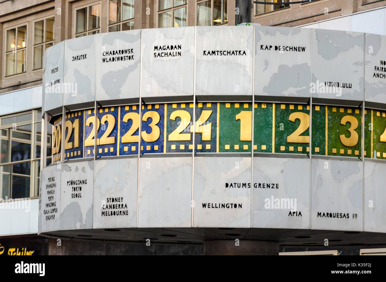 Detail of World Time Clock, Urania-Weltzeituhr, Alexanderplatz, Berlin, Germany Stock Photo