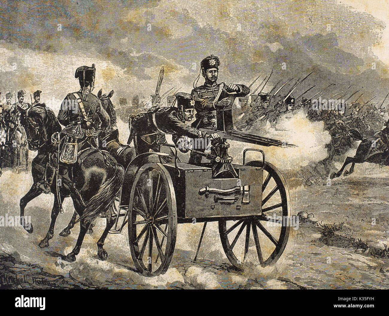 Franco-Prussian War (1870-1871). Troops of the Prussian Guard. Engraving. 'La Ilustracion', 1870. - Stock Image