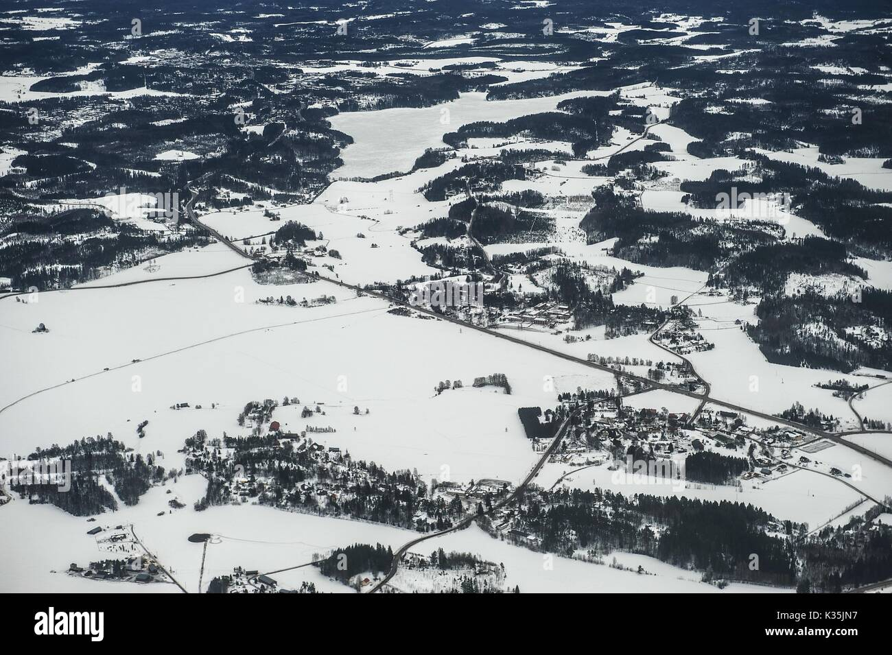 Finnish landscape from the air - Stock Image