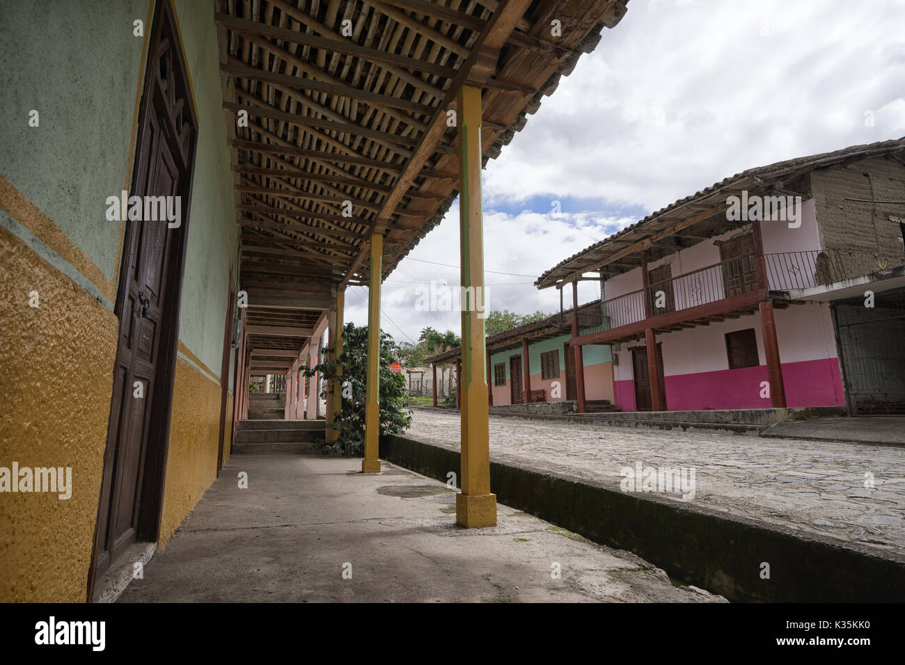 March 12, 2017 Vilcabamba, Ecuador: colonial architecture in the remote indigenous town known for longevity - Stock Image