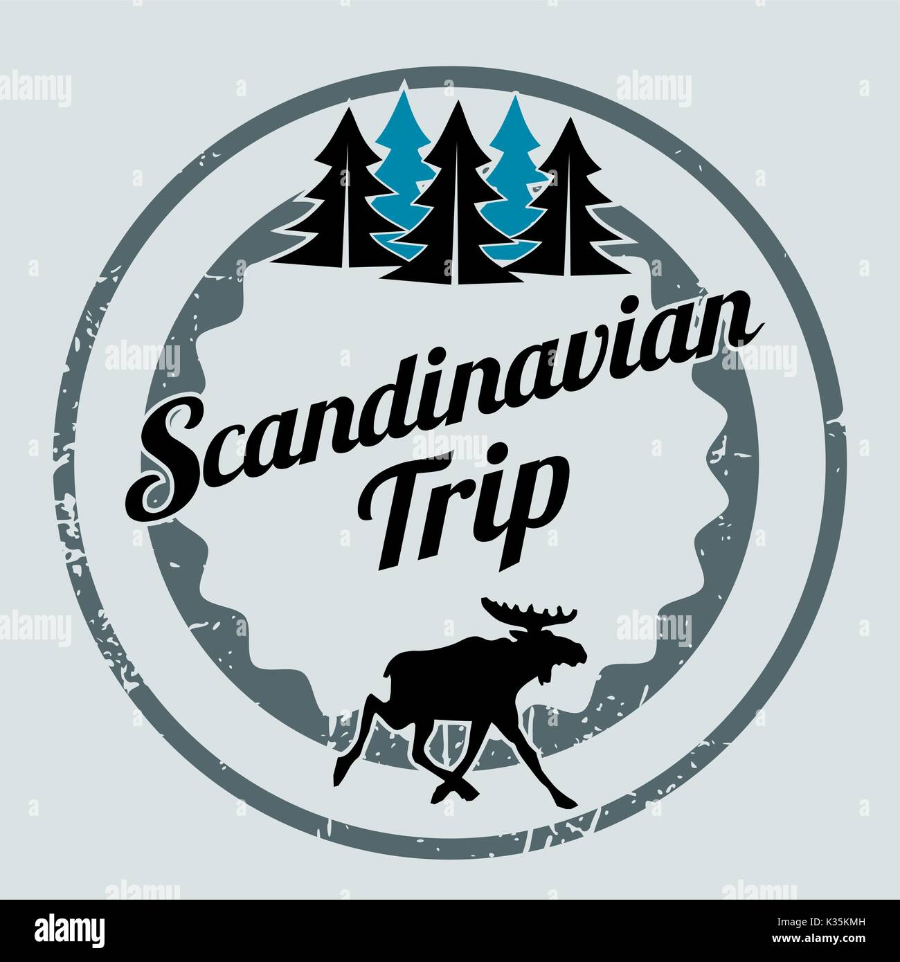 Scandinavian trip label with an elk, travel or vacation concept - Stock Vector