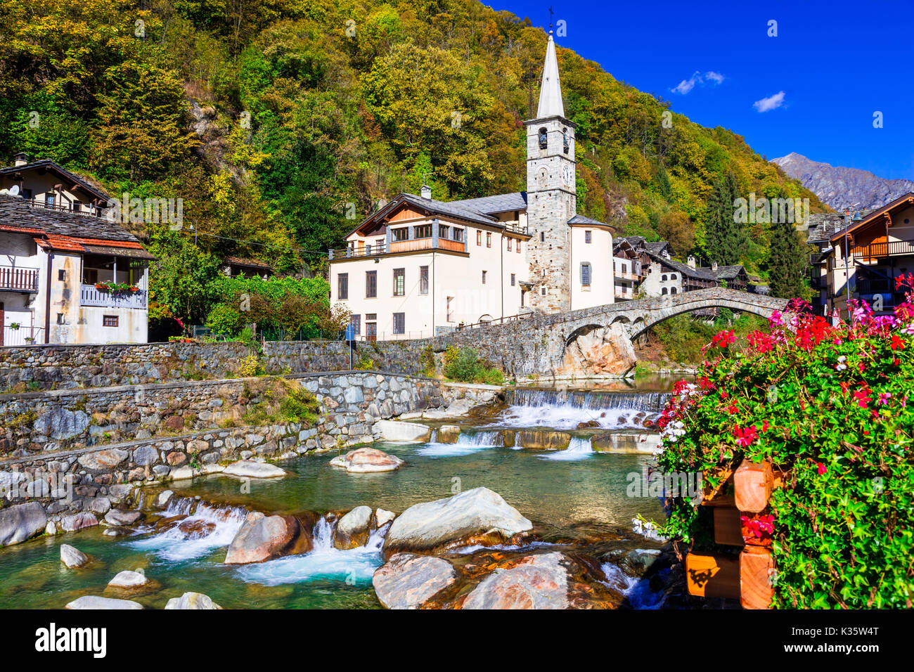 Pictorial Lillianes village,Valle d' Aosta,Italy. - Stock Image