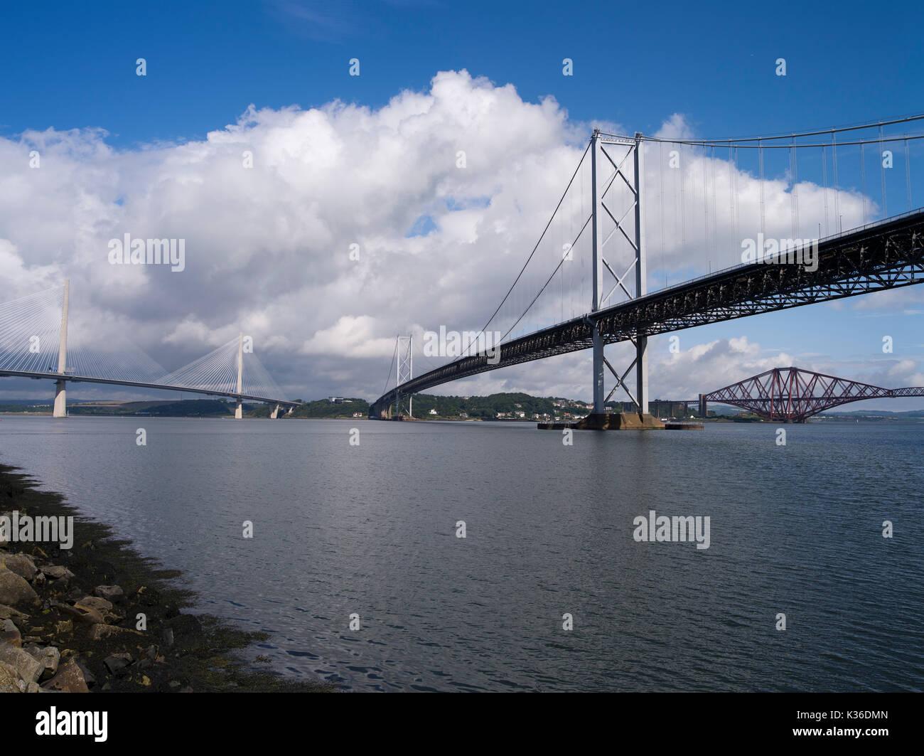dh Queensferry Crossing FORTH BRIDGE FIRTH OF FORTH Three River Forth Bridges Scotland roadbridge - Stock Image