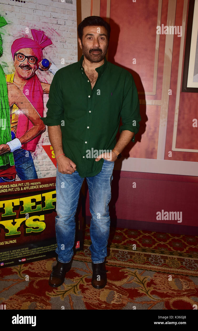 Mumbai, India  1st Sep, 2017  Indian film actors Sunny Deol pose