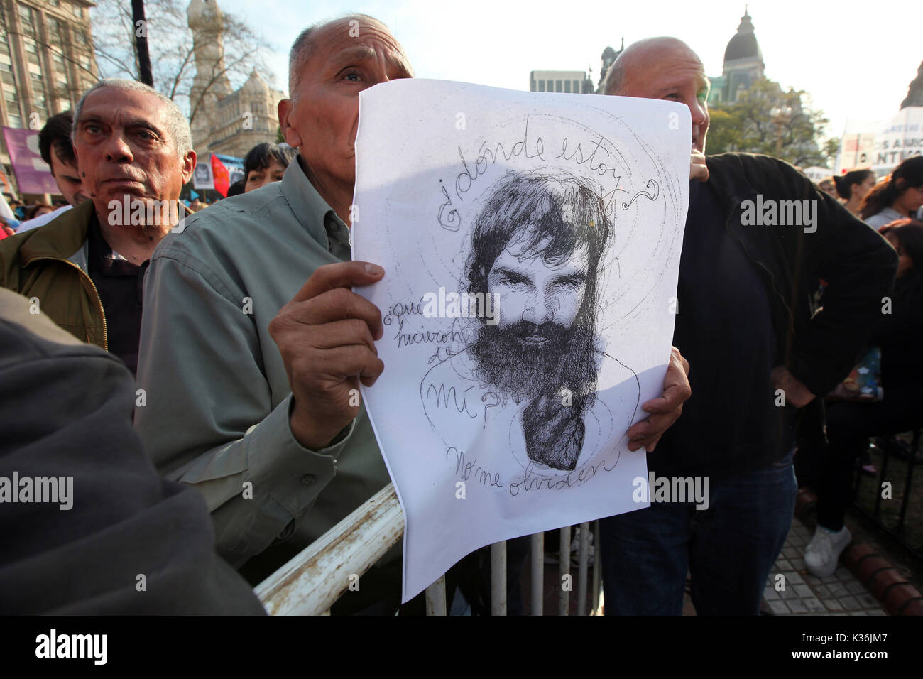 Buenos Aires, Buenos Aires, Argentina. 1st Sep, 2017. A demonstration was carried out to ask for the appearance of Santiago Maldonado, the artisan whose whereabouts has not been known since August 1st. Credit: Claudio Santisteban/ZUMA Wire/Alamy Live News - Stock Image