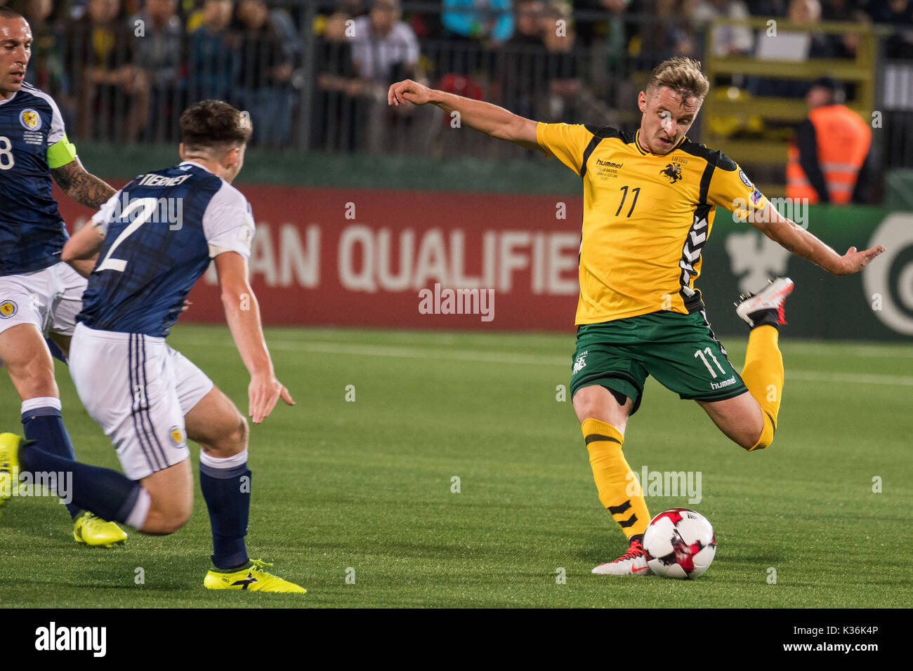 1st Sep 2017 Arvydas Novikovas R Of Lithuania Competes During The Fifa World Cup European Qualifying Group F Match Between And Scotland At Lff