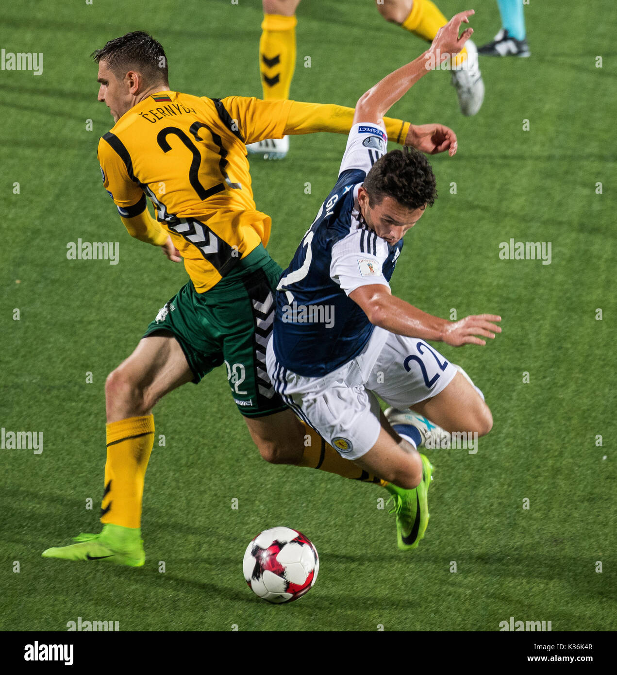 1st Sep 2017 John Mcginn R Of Scotland Vies With Fiodor Cernych Lithuania During The Fifa World Cup European Qualifying Group F Match Between