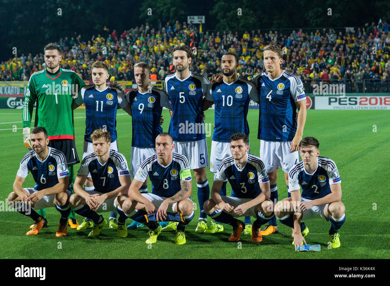 1st Sep 2017 Players Of Scotland Pose For A Group Photo Before The Fifa World Cup European Qualifying F Match Between Lithuania And At Lff