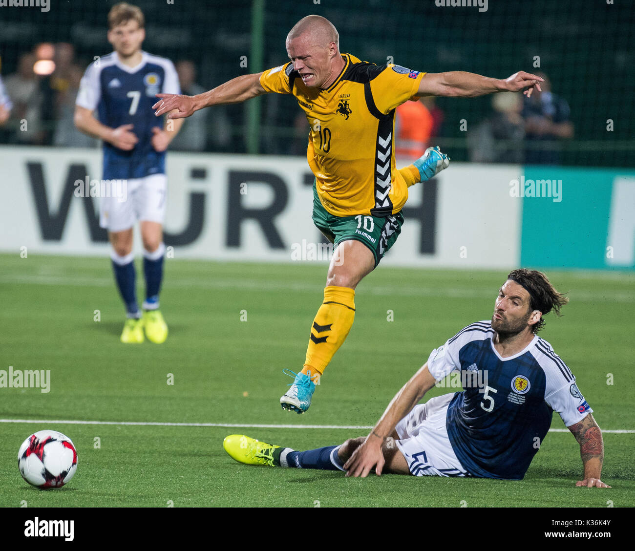1st Sep 2017 Darvydas Sernas Top Of Lithuania Vies With Charlie Mulgrew R Scotland During The Fifa World Cup European Qualifying Group F Match