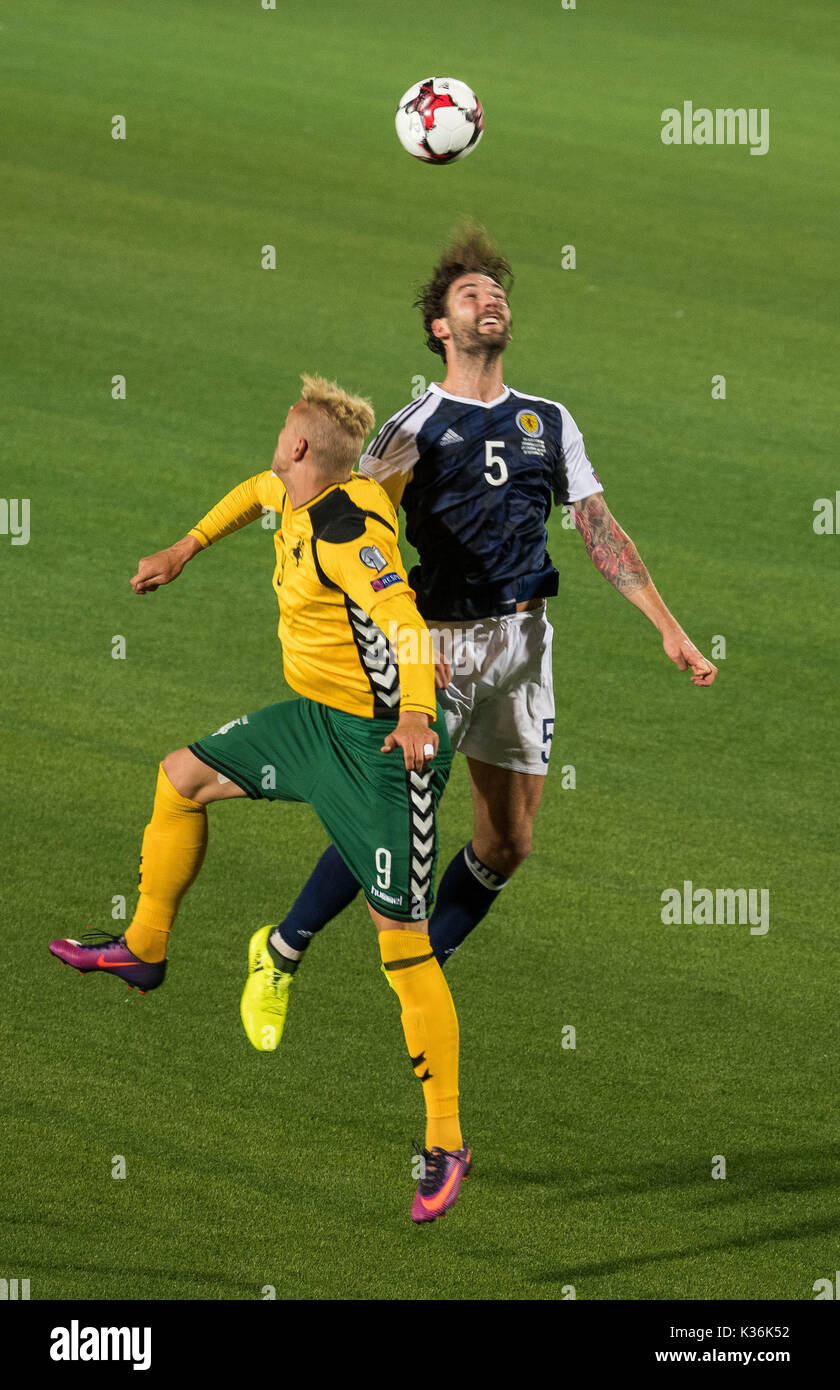1st Sep 2017 Charlie Mulgrew R Of Scotland Vies With Deivydas Matulevicius Lithuania During The Fifa World Cup European Qualifying Group F Match