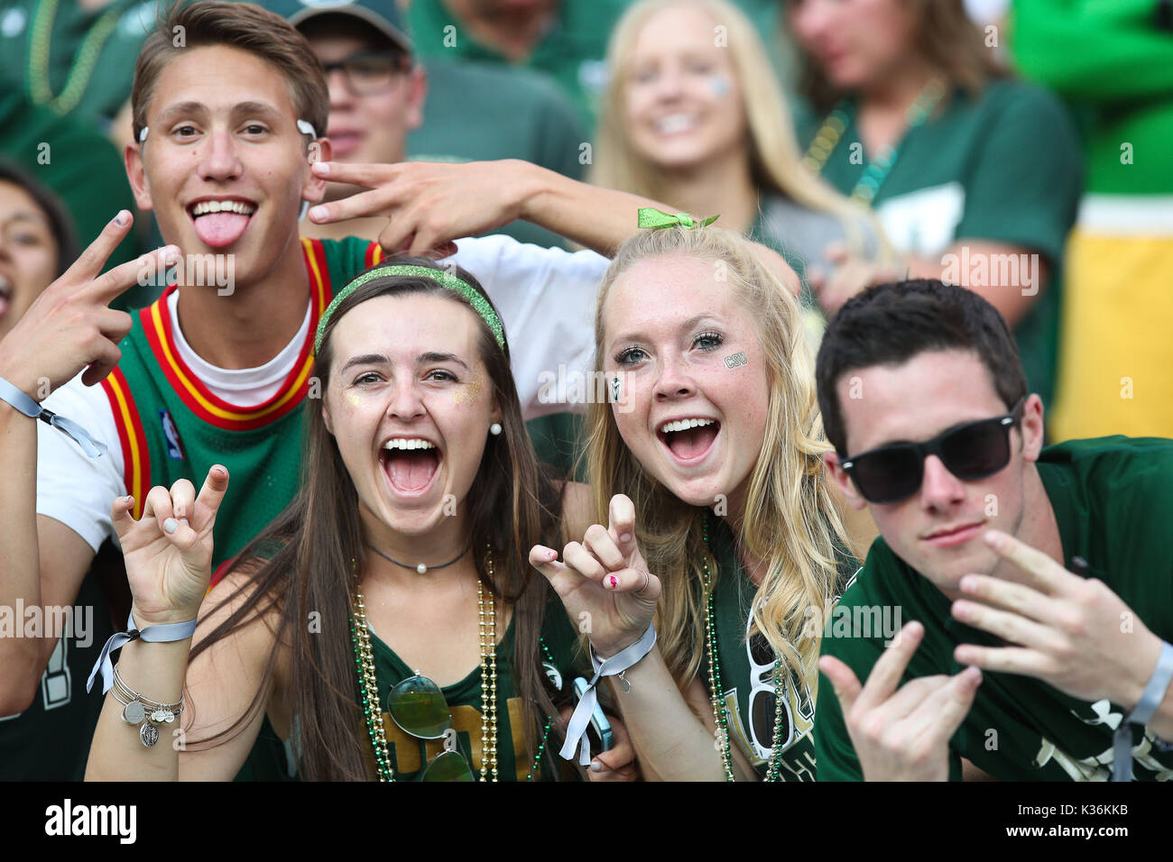 September 01, 2017: Colorado State fans urge on their team during the Rocky Mountain Showdown in Denver against Coloradoo. - Stock Image