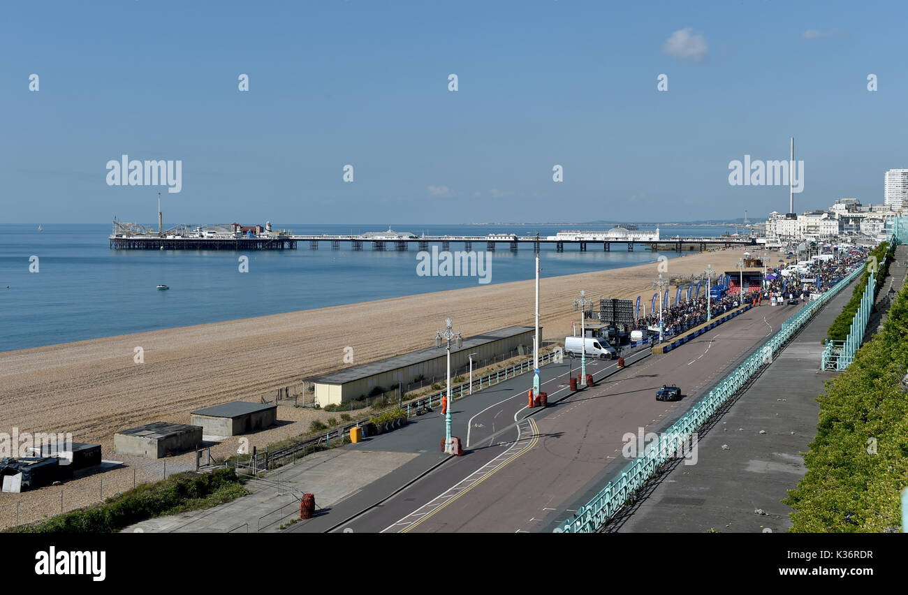 Brighton, UK. 2nd Sep, 2017. The beach and seafront is cleared of people for safety at the Brighton Speed Trials Stock Photo
