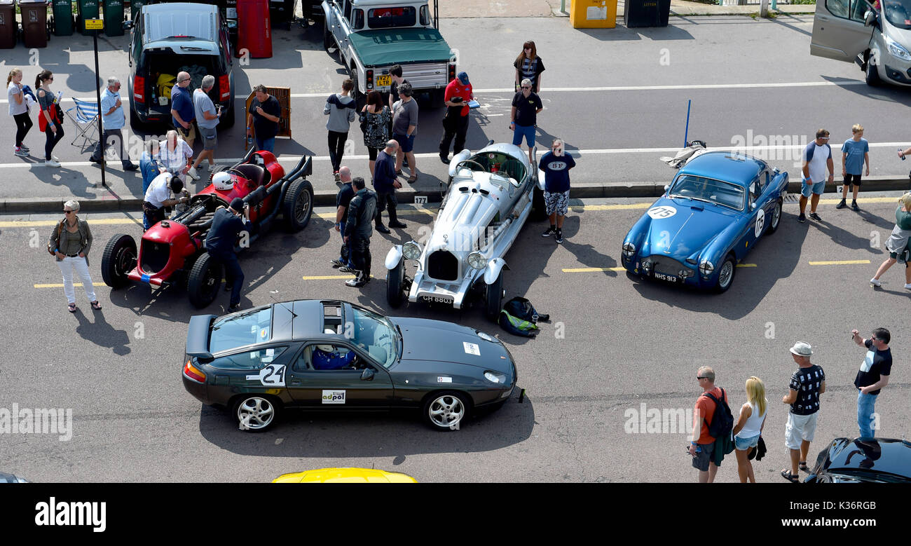 Brighton, UK. 2nd Sep, 2017. Crowds of motor racing enthusiasts at the Brighton Speed Trials held on the seafront . Over two hundred cars and motor bikes line up to take a timed run down Madeira Drive reaching high speeds Credit: Simon Dack/Alamy Live News - Stock Image