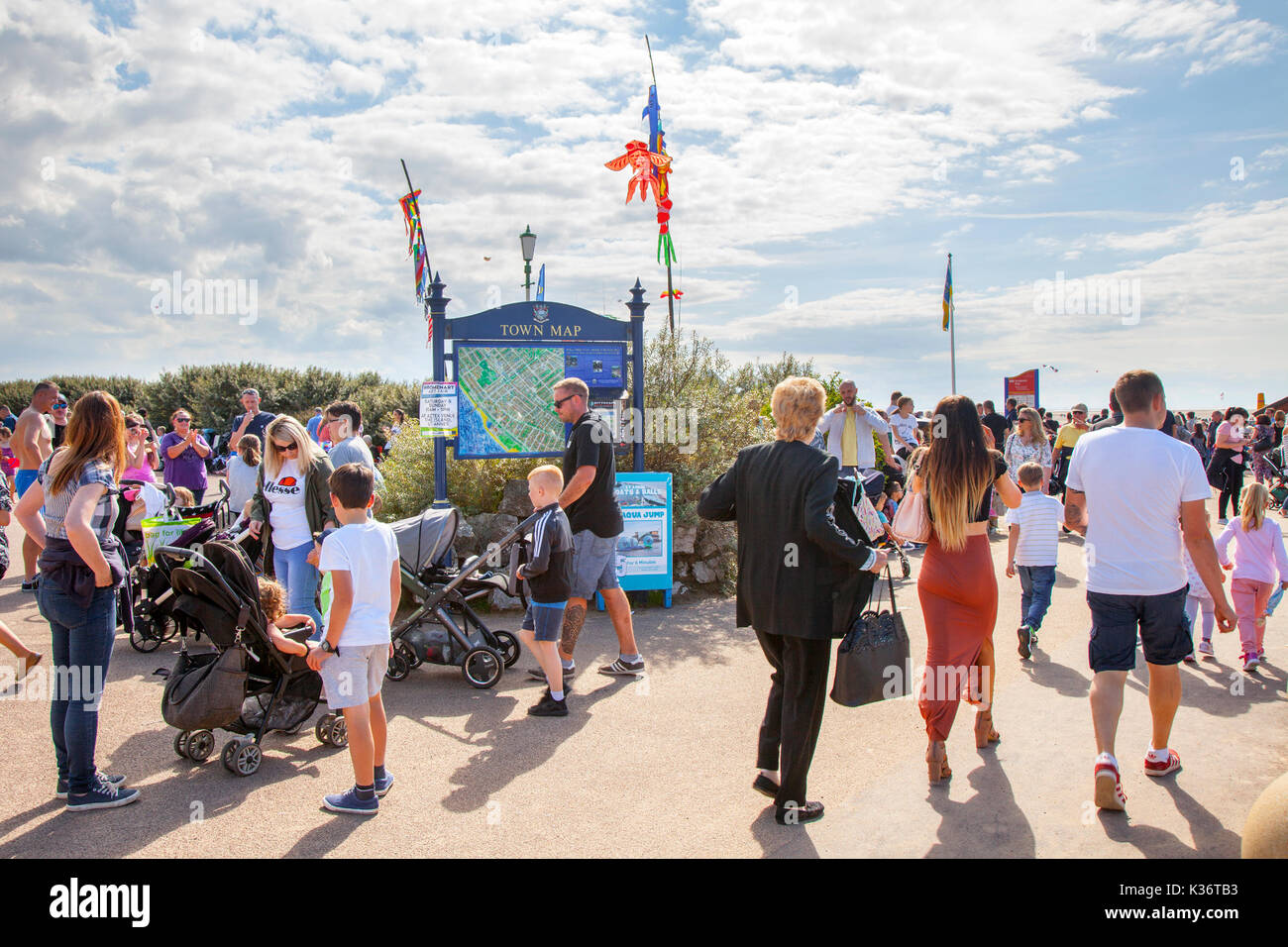 Lytham St Annes near Blackpool. UK Weather. 2nd September, 2017. High temperatures, sunny, hot, weather, summer, sun, nature, sunlight, sky, sand, landscape, sunshine brings thousands of holidaymakers to the resort to enjoy the summer sunshine on the sandy beach. Credit; MediaWorldImages/AlamyLiveNews. - Stock Image