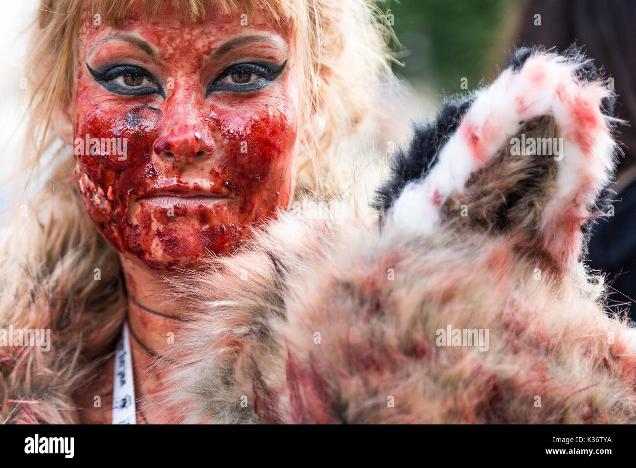 London, UK. 2nd September, 2017. Official Animal Rights March. Several thousand vegans and other animal rights supporters gather in Hyde Park ready to march through central London calling for an end to killing animals for human benefit. The march was organised by Surge, HeartCure and The Save Movement UK. Credit: Guy Corbishley/Alamy Live News - Stock Image