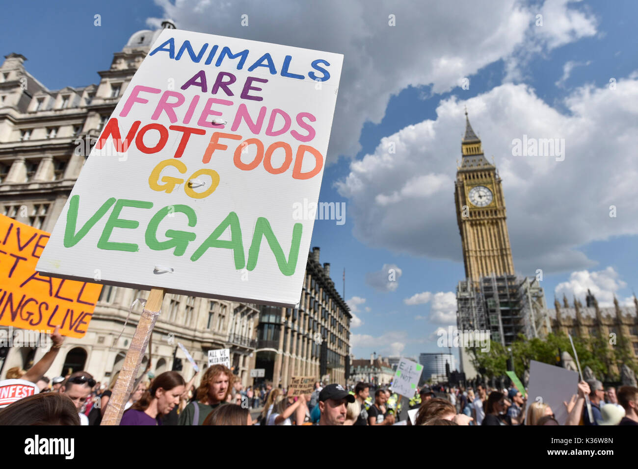 London, UK.  2 September 2017.  Vegans and other demonstrators take part in an Animal Rights march from Hyde Park Stock Photo